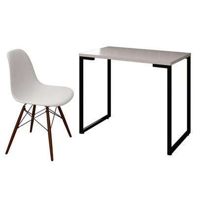 Mesa Escrivaninha Fit 90cm Branco e Cadeira Charles FT1 Branca - Mpozenato