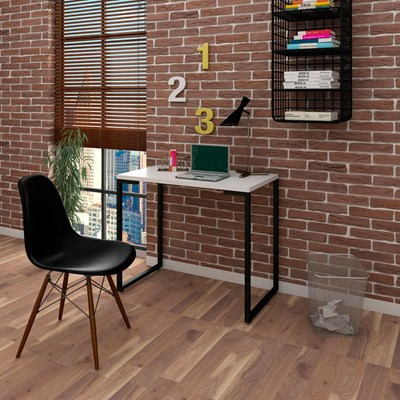 Mesa Escrivaninha Fit 90cm Branco e Cadeira Charles FT1 Preta - Mpozenato