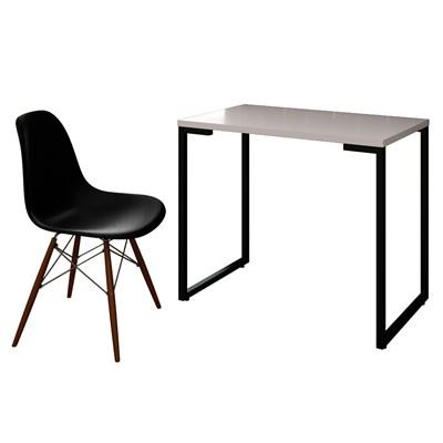 Mesa Escrivaninha Fit 90cm Branco e Cadeira Charles Preta - Mpozenato