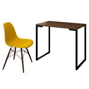 Mesa Escrivaninha Fit 90cm Castanho e Cadeira Charles Amarela - Mpozenato