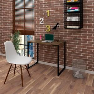 Mesa Escrivaninha Fit 90cm Castanho e Cadeira Charles Branca - Mpozenato