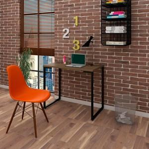 Mesa Escrivaninha Fit 90cm Castanho e Cadeira Charles Laranja - Mpozenato