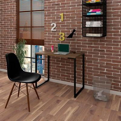 Mesa Escrivaninha Fit 90cm Castanho e Cadeira Charles Preta - Mpozenato