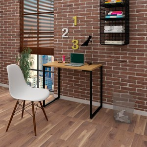 Mesa Escrivaninha Fit 90cm Natura e Cadeira Charles Branca - Mpozenato