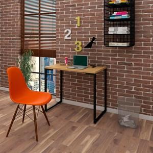 Mesa Escrivaninha Fit 90cm Natura e Cadeira Charles Laranja - Mpozenato