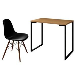Mesa Escrivaninha Fit 90cm Natura e Cadeira Charles Preta - Mpozenato
