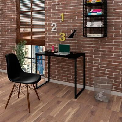 Mesa Escrivaninha Fit 90cm Preto e Cadeira Charles FT1 Preta - Mpozenato
