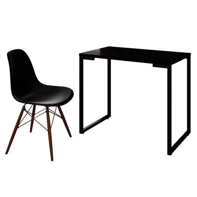 Mesa Escrivaninha Fit 90cm Preto e Cadeira Charles Preta - Mpozenato