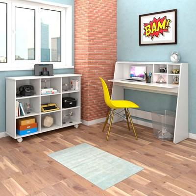 Mesa Escrivaninha Idealle Nicho Multiuso Toys Branco e Cadeira Charles C12 Amarela - Mpozenato