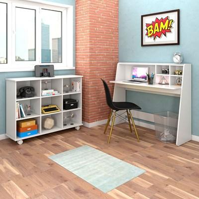 Mesa Escrivaninha Idealle Nicho Multiuso Toys Branco e Cadeira Charles C12 Preta - Mpozenato