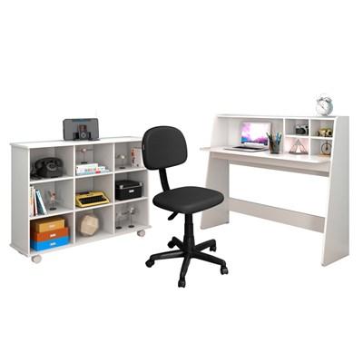 Mesa Escrivaninha Idealle Nicho Multiuso Toys Branco e Cadeira Giratória CS-02 C13 Preta - Mpozenato