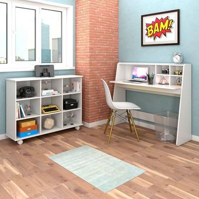 Mesa Escrivaninha Idealle Nicho Multiuso Toys e Cadeira Charles Branco - Mpozenato