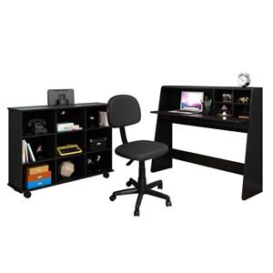 Mesa Escrivaninha Idealle Nicho Multiuso Toys e Cadeira Giratória CS-02 Preto - Mpozenato