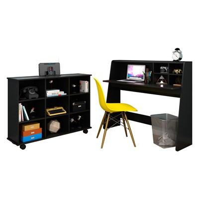 Mesa Escrivaninha Idealle Nicho Multiuso Toys Preto e Cadeira Charles C12 Amarela - Mpozenato