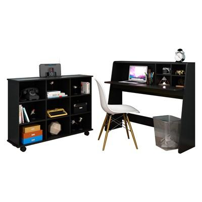 Mesa Escrivaninha Idealle Nicho Multiuso Toys Preto e Cadeira Charles C12 Branca - Mpozenato