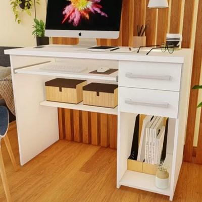 Mesa Escrivaninha para Computador 2 Gavetas 103cm Pratic F04 Branco - Mpozenato