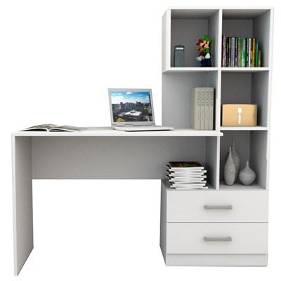 Mesa Escrivaninha para Computador com Estante Livreiro 2 Gavetas ESC 4002 Branco - Appunto