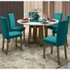 Mesa Isabela 135cm com 6 Cadeiras Vanessa Álamo/Off White/Azul - New Ceval