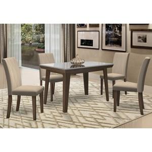 Mesa Jade 120cm com 4 Cadeiras Vanessa Castanho/Off White/Champagne - New Ceval