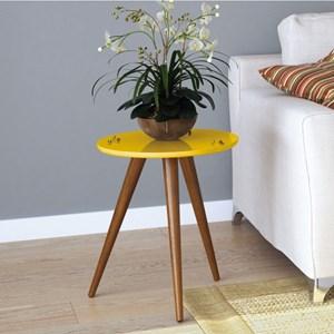 Mesa Lateral com Pés Palito Sorelle Amarelo - HB Móveis