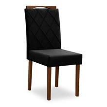 Mesa Melissa 160cm com 6 Cadeiras Isabela Off White/Preto/Castanho - New Ceval