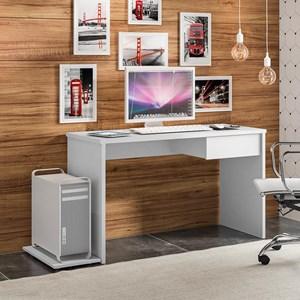 Mesa Office 1 Gaveta e Suporte CPU Lion 8000 M09 Branco White - Mpozenato