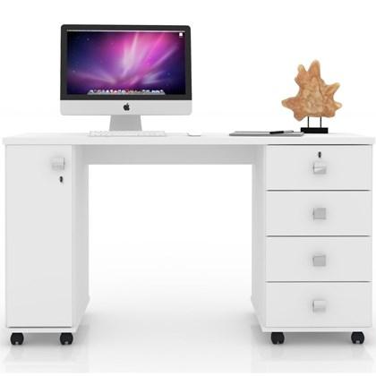 Mesa Para Computador 4 Gavetas 1 Porta Smart Branco - Lukaliam Móveis