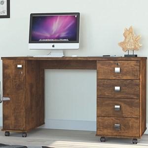 Mesa Para Computador 4 Gavetas 1 Porta Smart Canela - Lukaliam Móveis