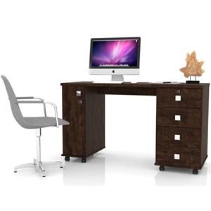 Mesa Para Computador 4 Gavetas 1 Porta Smart Noce - Lukaliam Móveis