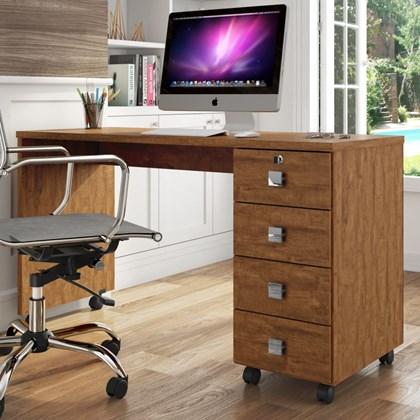 Mesa Para Computador 4 Gavetas Dubai Amêndoa - Lukaliam Móveis