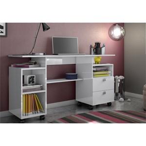 Mesa para Computador com Rodízios – C215 Branco Brilho - Dalla Costa