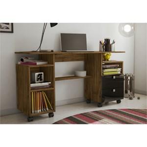 Mesa para Computador com Rodízios – C215 Nobre com Preto - Dalla Costa