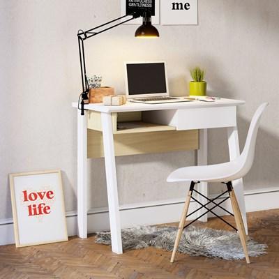 Mesa Para Computador Escrivaninha 1 Gaveta Click 90 Branco Fosco/Tauari Nobre - Colibri