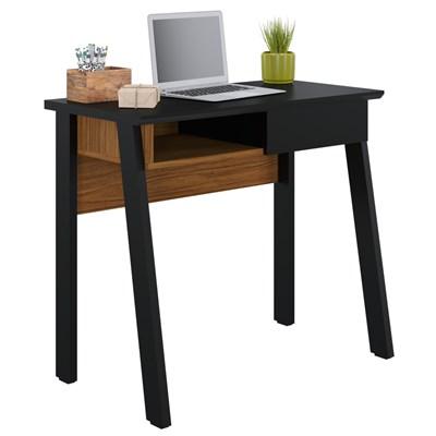 Mesa Para Computador Escrivaninha 1 Gaveta Click 90 Preto Fosco/Noce Milano - Colibri