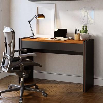 Mesa para Computador Escrivaninha 120cm 2 Gavetas Smart  Preto Fosco/Noce Milano - Colibri