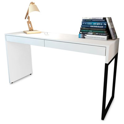 Mesa Para Computador Escrivaninha 2 Gavetas Desk Branco - Fit Mobel