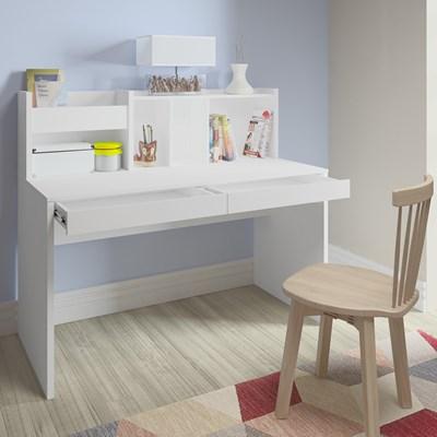 Mesa Para Computador Escrivaninha 2 Gavetas France Branco - Artany