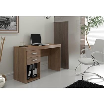 Mesa Para Computador Escrivaninha 2 Gavetas Malta Castanho - Politorno