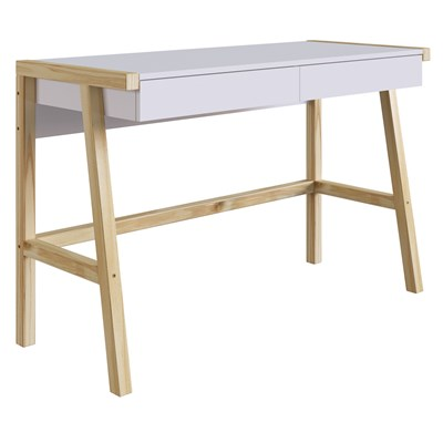 Mesa Para Computador Escrivaninha 2 Gavetas Noble Branco/Madeira Natural - Artesano
