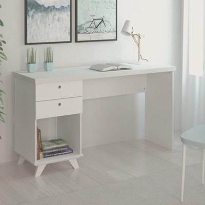 Mesa Para Computador Escrivaninha 2 Gavetas Sky Branco - Artany