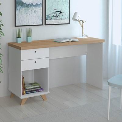 Mesa Para Computador Escrivaninha 2 Gavetas Sky Olmo/Branco - Artany