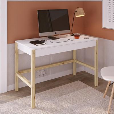 Mesa Para Computador Escrivaninha 2 Gavetas Solution Branco/Madeira Natural - Artesano