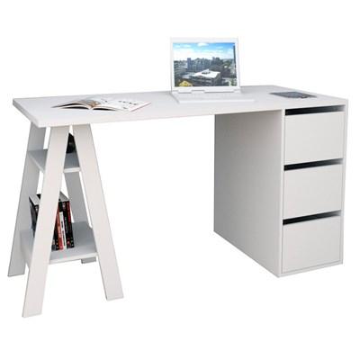 Mesa Para Computador Escrivaninha 3 Gavetas Self 3005 Branco - Appunto