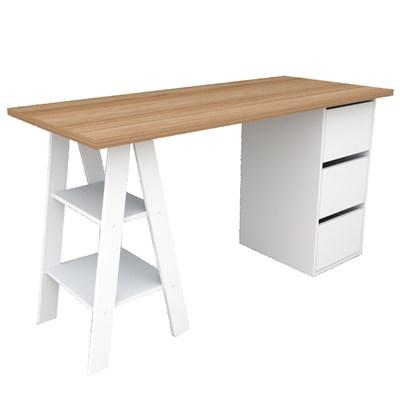 Mesa Para Computador Escrivaninha 3 Gavetas Self 3005 Castanho/Branco - Appunto