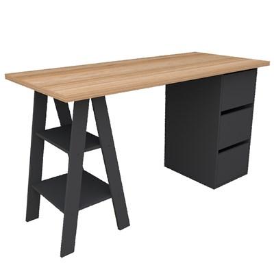 Mesa Para Computador Escrivaninha 3 Gavetas Self 3005 Castanho/Preto - Appunto