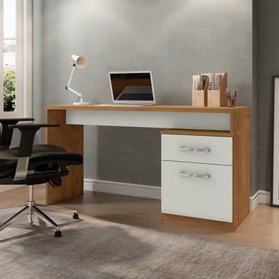 Mesa Para Computador Escrivaninha Belgrado Preto Freijó/Cinza Cristal - Móveis Leão