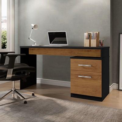 Mesa Para Computador Escrivaninha Belgrado Preto Velluto/Freijó - Móveis Leão