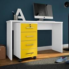 Mesa Para Computador Escrivaninha com Gaveteiro Gávea Branco/Amarelo - Móveis Leão