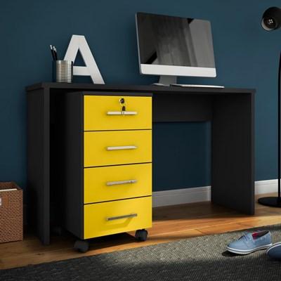 Mesa Para Computador Escrivaninha com Gaveteiro Gávea Preto/Amarelo - Móveis Leão
