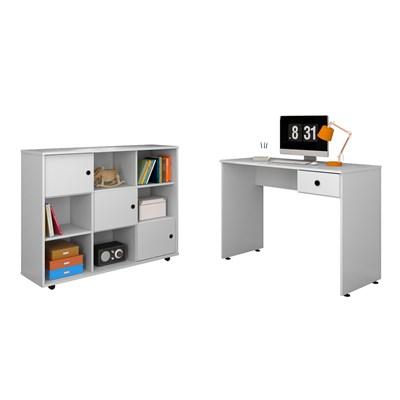 Mesa para Computador Escrivaninha Dubai e Nicho Multiuso Amã Branco - Mpozenato